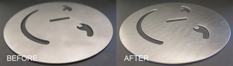 stainless steel closeup before after deburring with FLADDER deburring machine